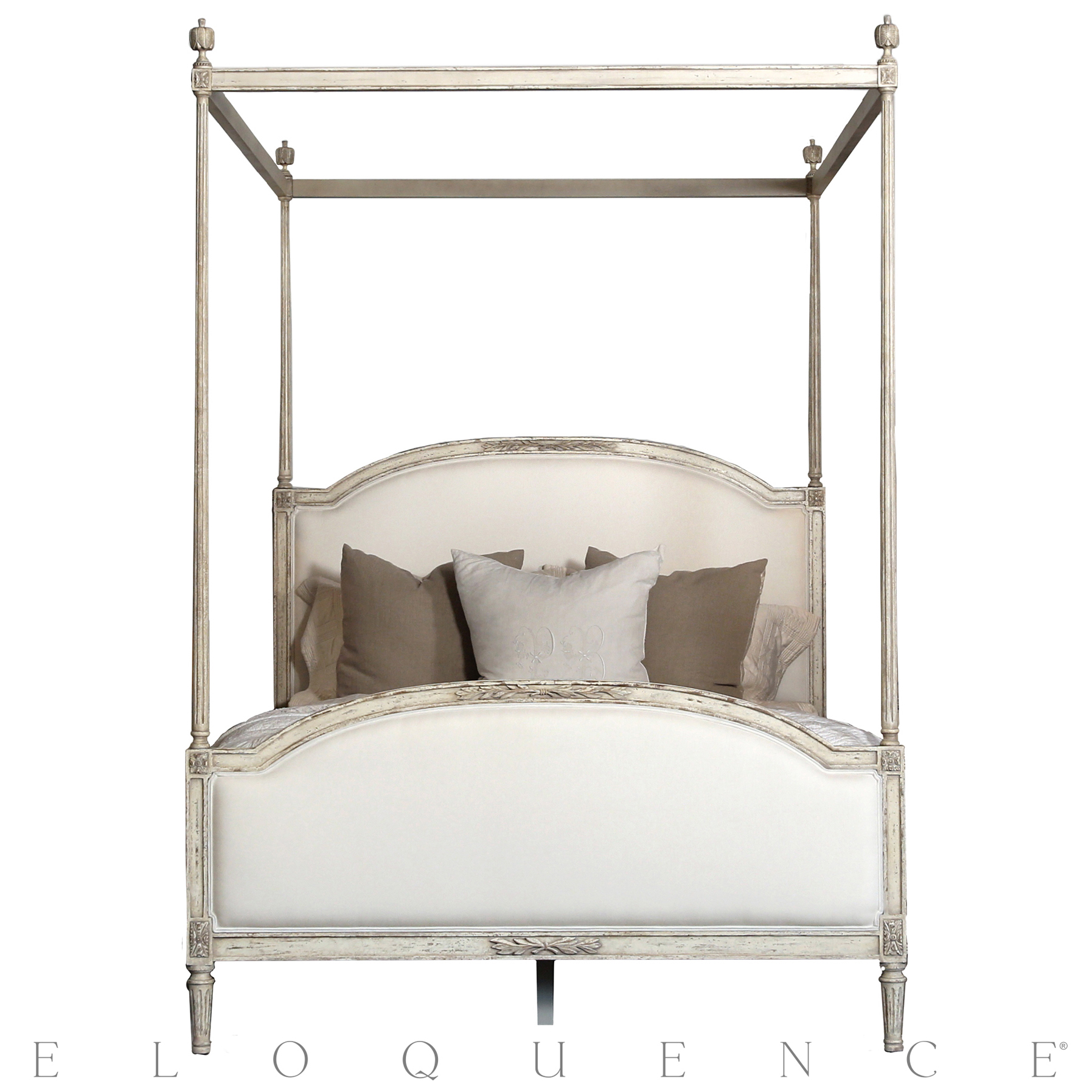 Eloquence® Dauphine King Canopy Bed in Weathered White