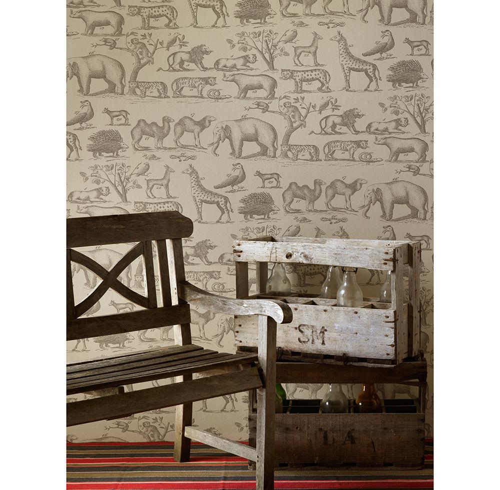 Vintage Painted Jungle Animals Wallpaper - Parchment - 2 Rolls