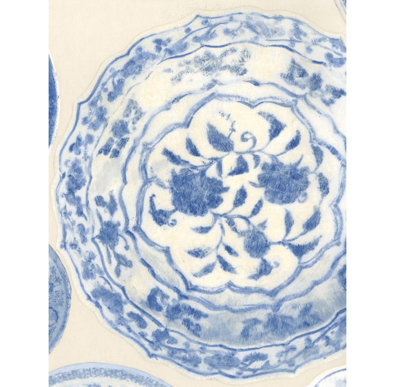 Porcelain Ceramic Plates Wallpaper - Blue White - 2 Rolls