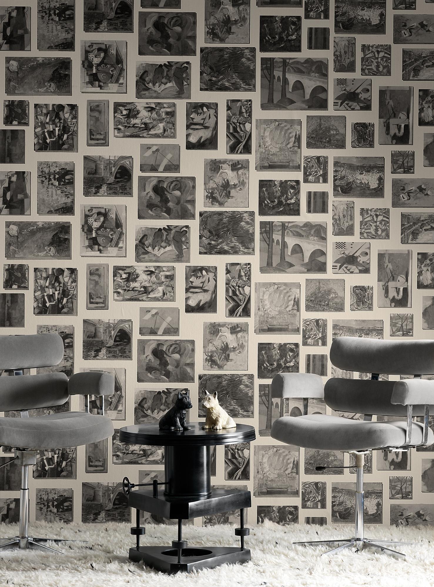 Modern Art Gallery Featured Artwork Wallpaper - Stone - 3 Rolls