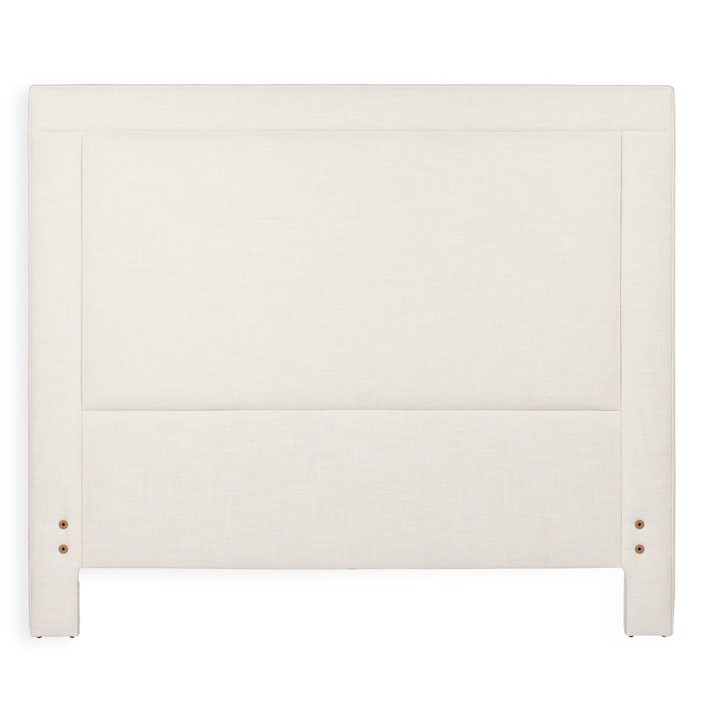 Sloan Modern Classic Square Banded Ivory Linen Headboard- Queen