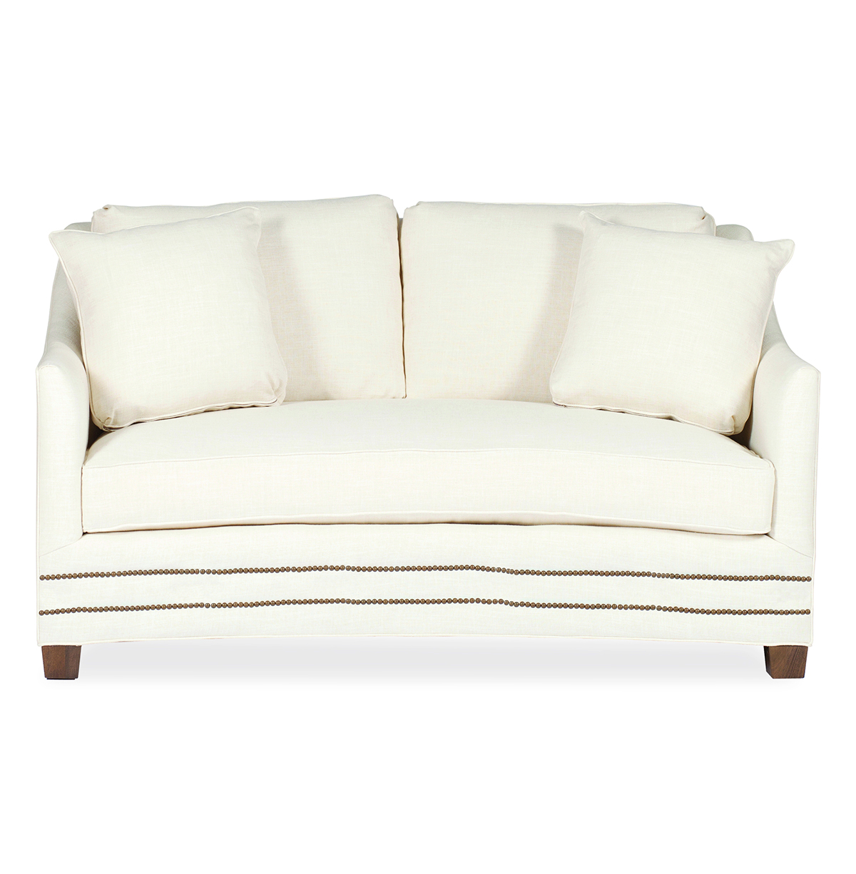 Baldwin Hollywood Regency Curved Front Settee - Straight Nailhead