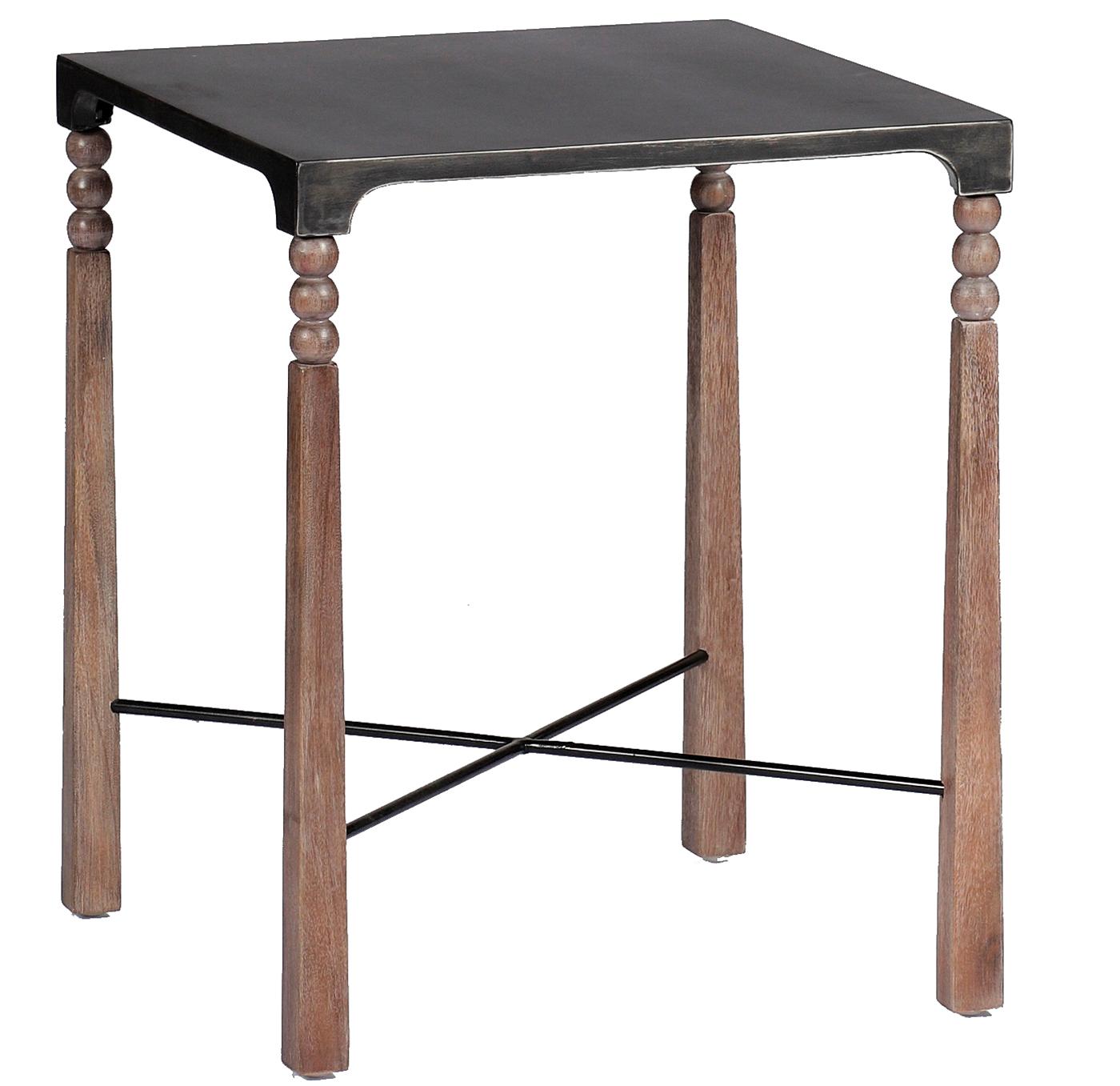 Andrew Ceruse Oak Black Metal Bobbin Side End Table