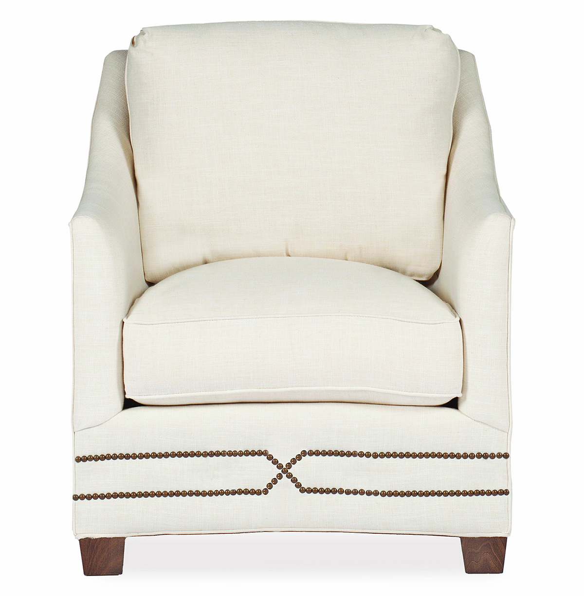 Baldwin Hollywood Regency Curved Front Arm Chair - Straight Nailhead