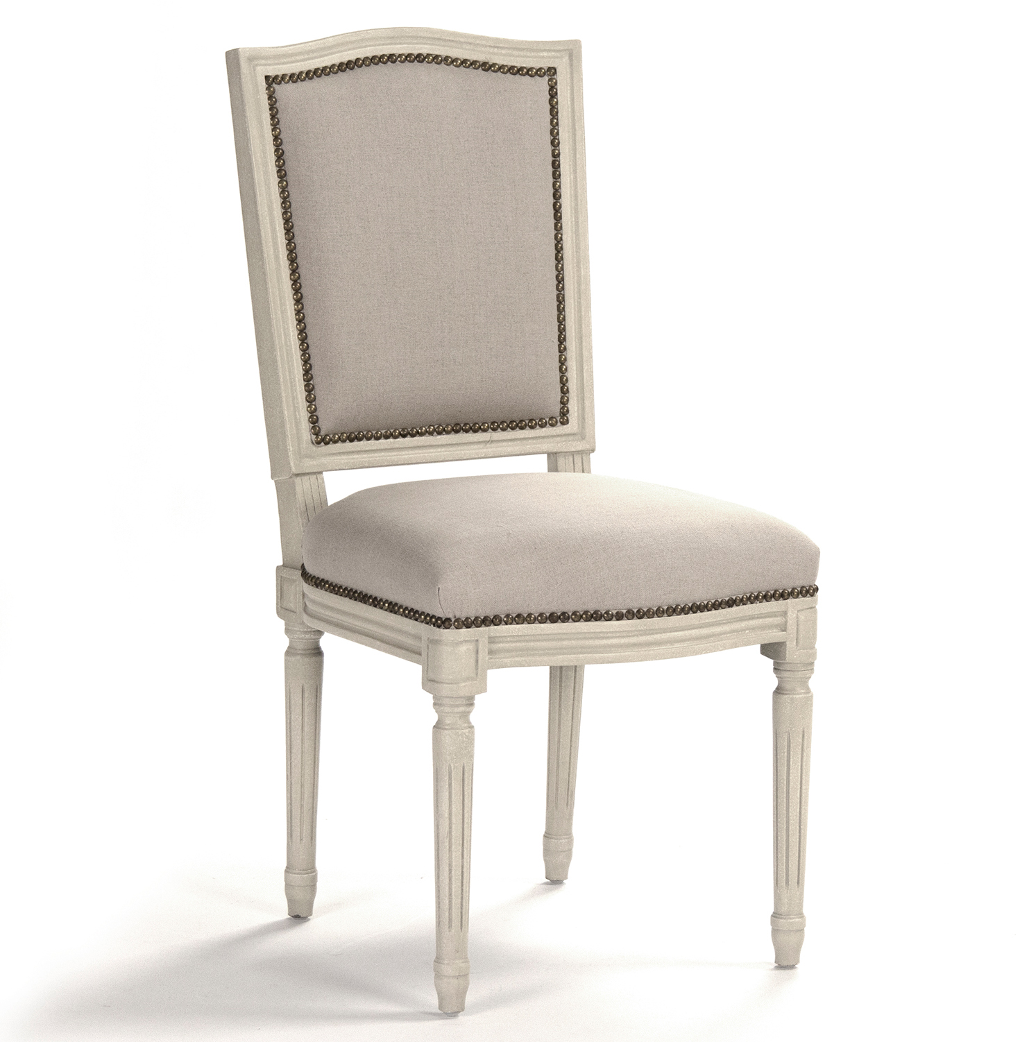 Pair Benoit French Country Linen Burlap Antique Ivory Dining Side Chair