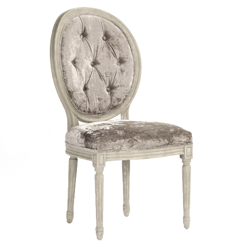 Pair Madeleine French Country Oval Velvet Dining Side Chair