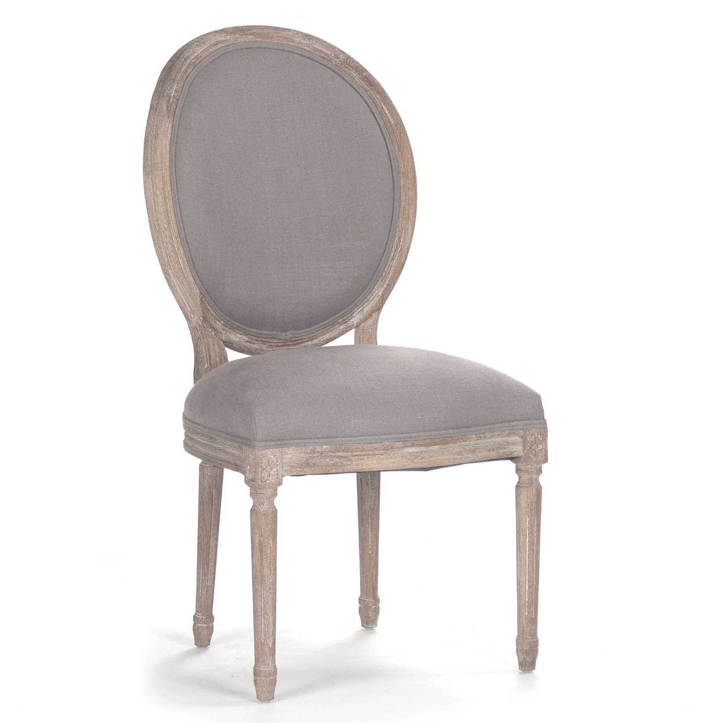 Pair Madeleine French Country Oval Grey Linen Dining Side Chair