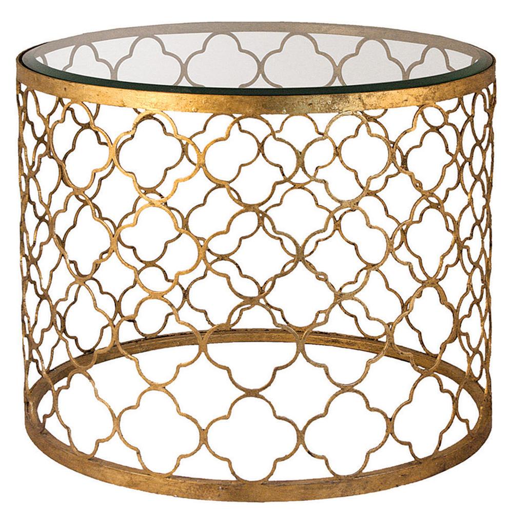 Heston Hollywood Regency Gold Leaf Beveled Glass Round End Table