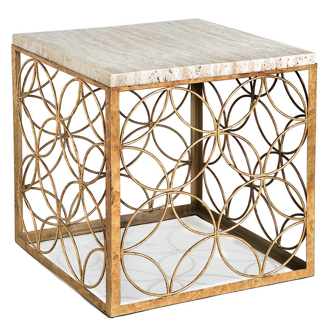 Peck Hollywood Regency Travertine Gold Leaf Iron Cube End Table