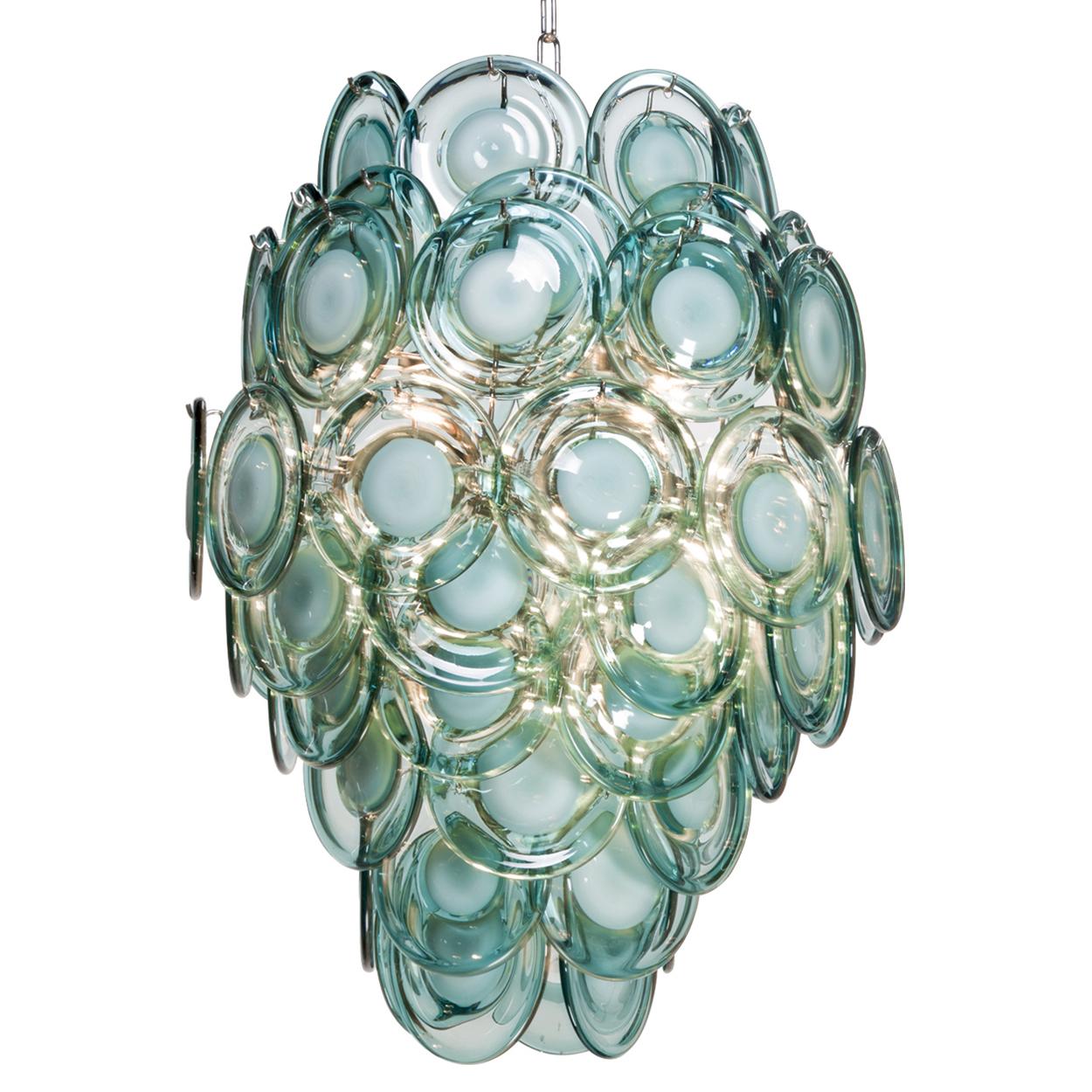 Ventura Coastal Beach Metal Aqua Glass Chandelier
