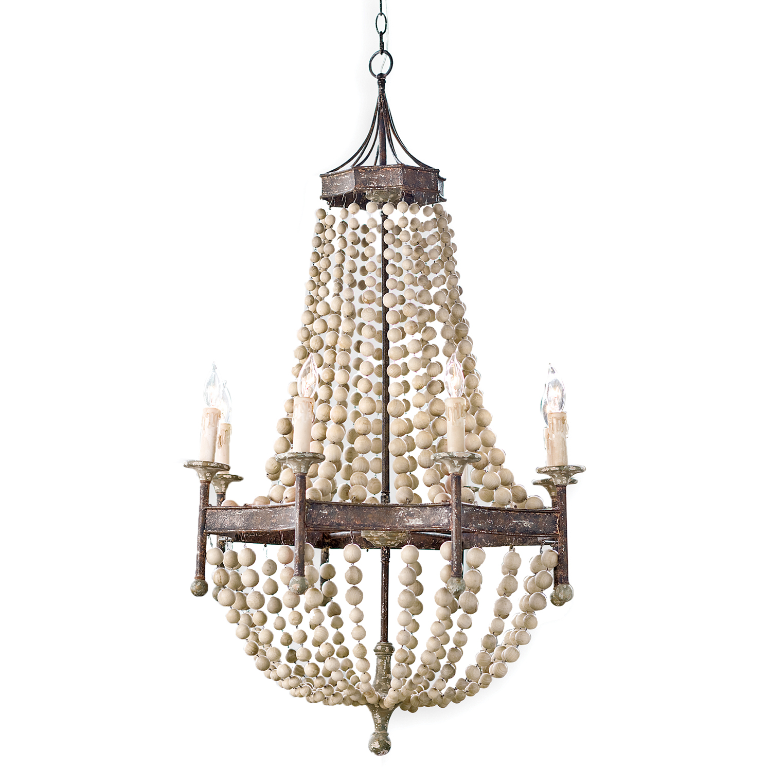 Designer chandeliers eclectic chandeliers kathy kuo home maroma coastal beach scalloped wood bead metal chandelier arubaitofo Gallery