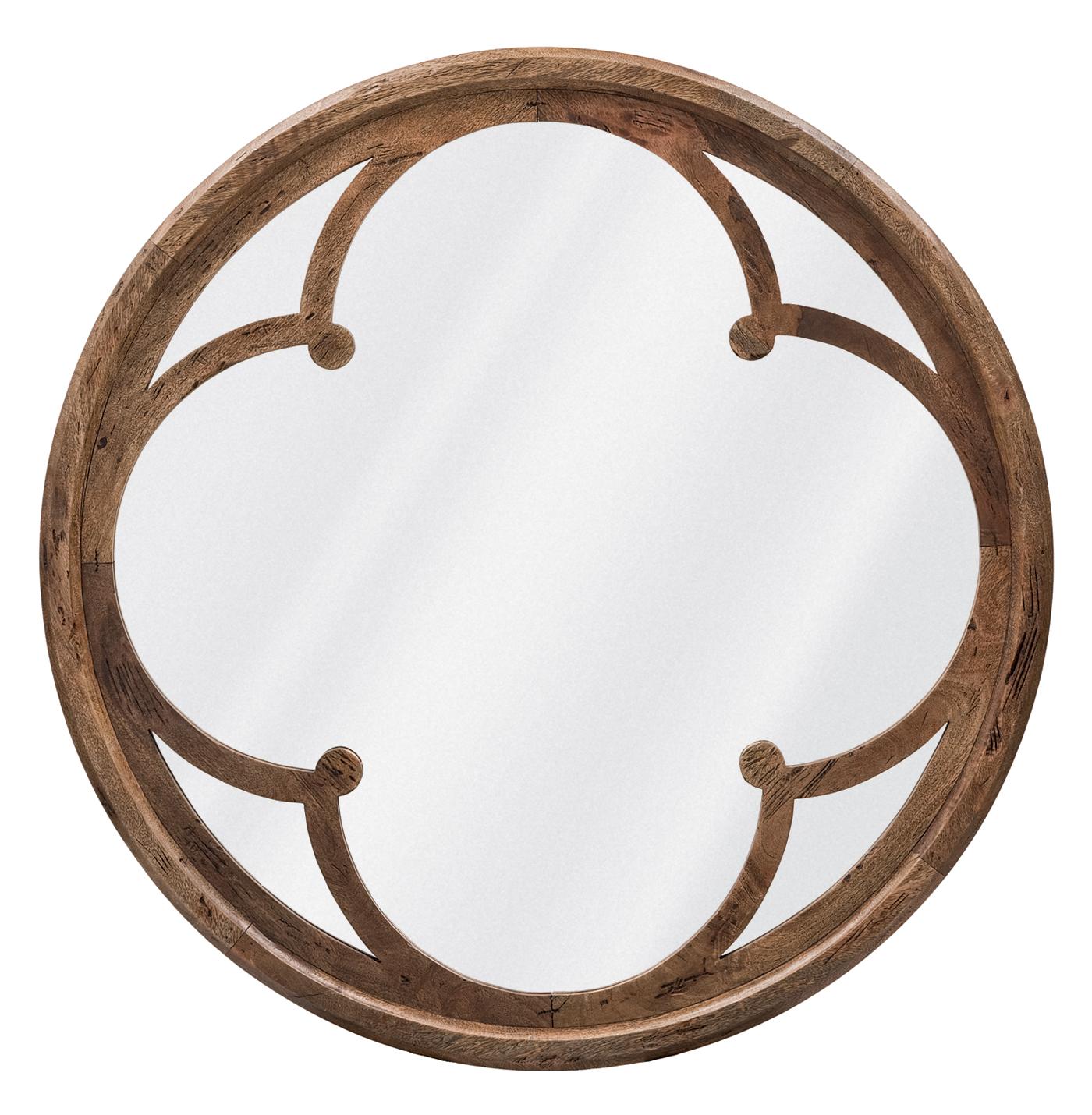Neve Modern Brown Wood Round Large Mirror