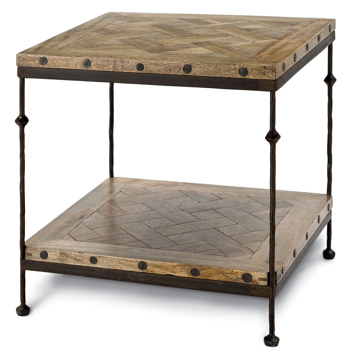 Shays Rustic Mango Wood Parquet Metal Square End Table