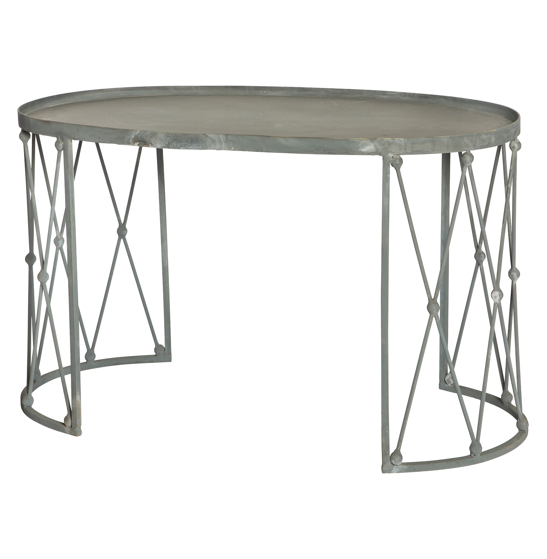 Palm House French Country Weathered Zinc Oval Coffee Table