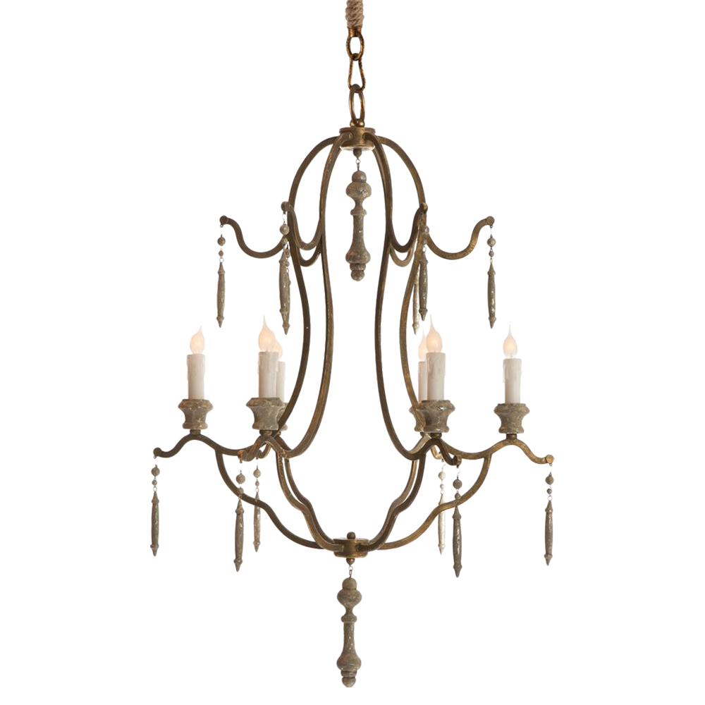 Marisol French Country Simple Dark Gold Iron 6 Light Chandelier