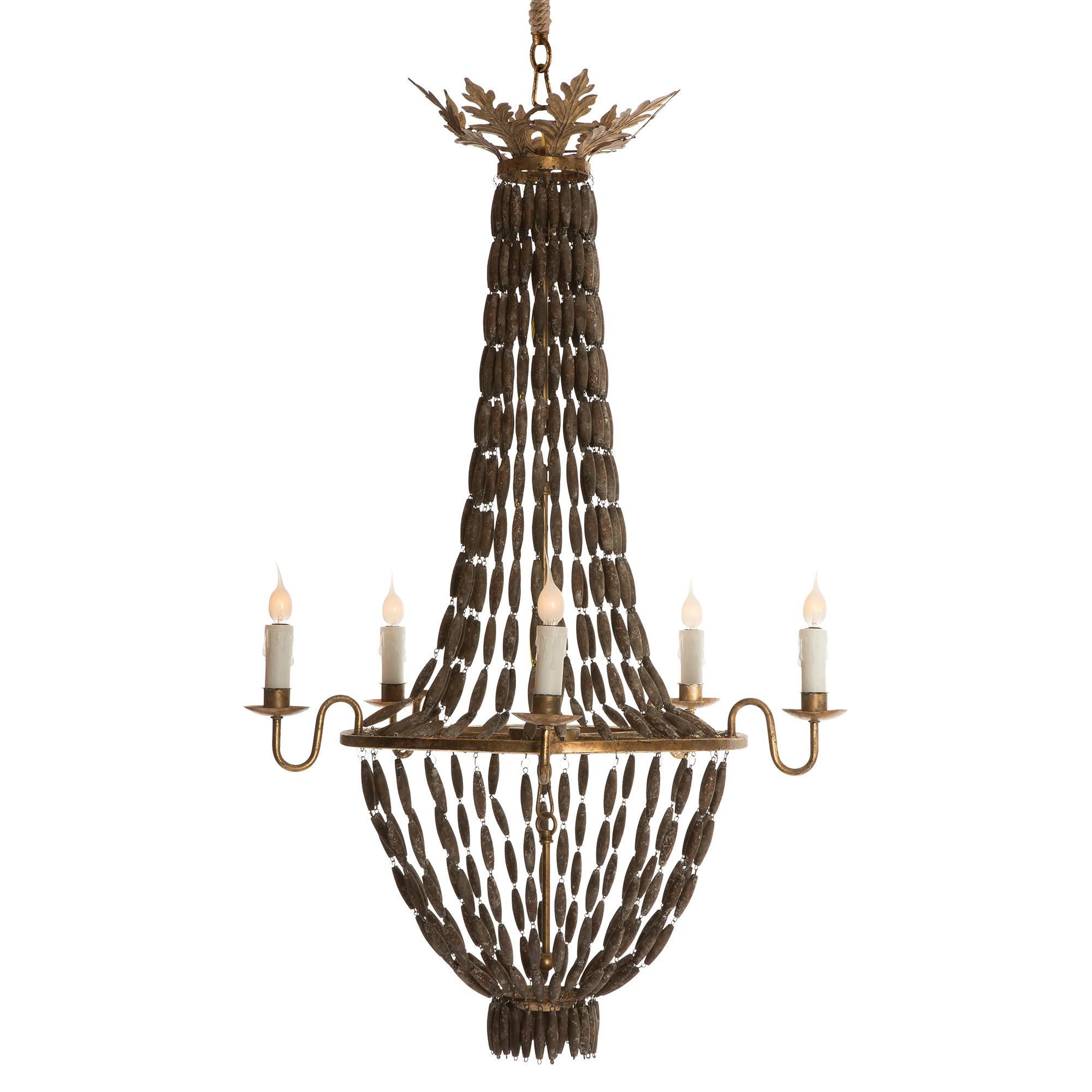 Bilzen Hollywood Beaded Wood Rustic Glamour 6 Light Chandelier