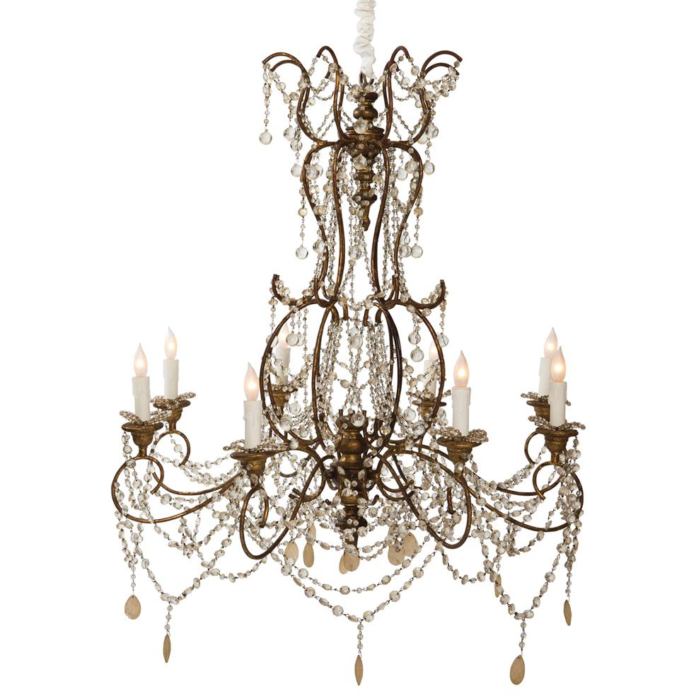 Julius Hollywood French Bead Crystal 8 Light Swag Chandelier