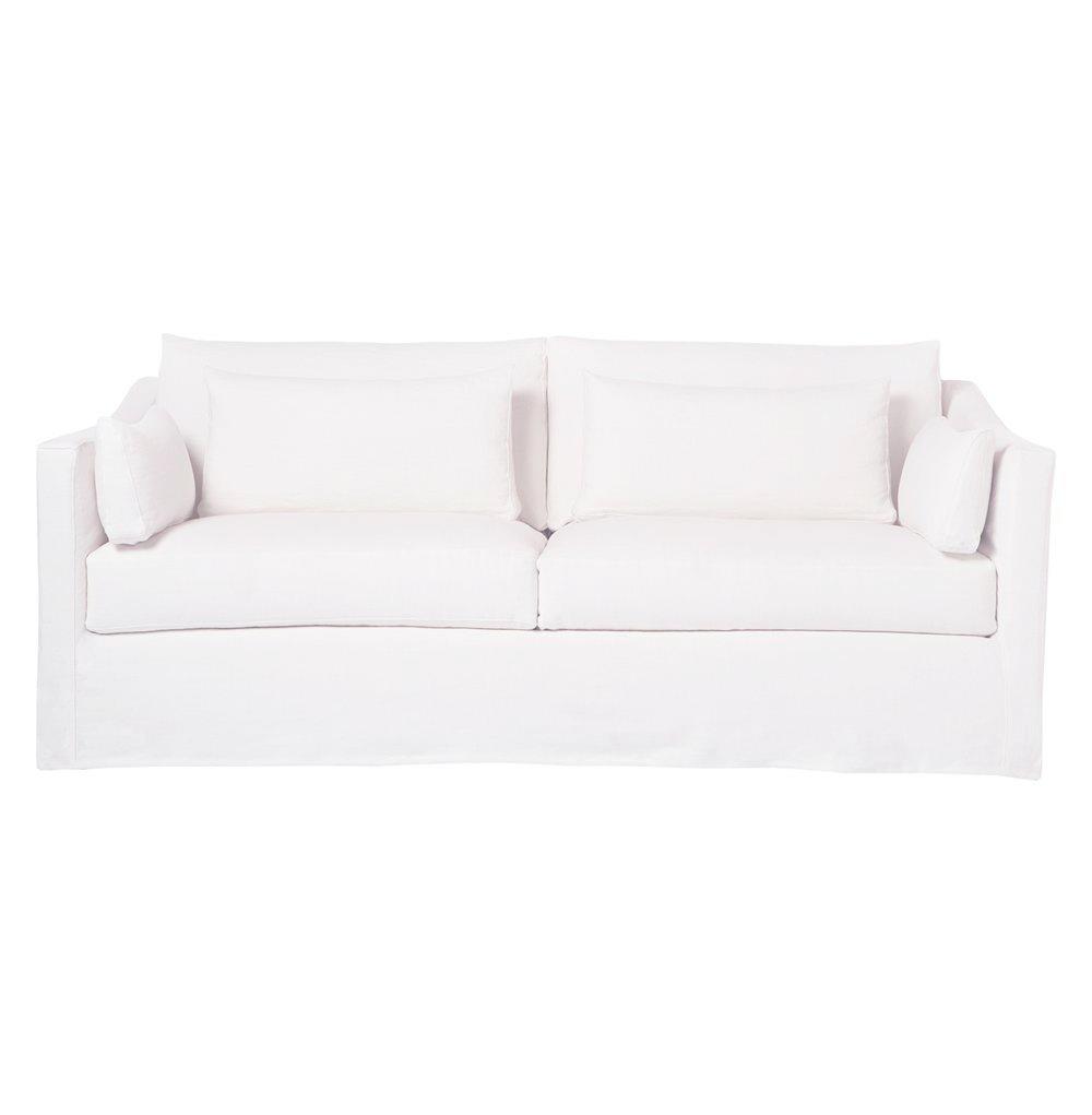 Rebecca Denim White Coastal Style Slip Cover Sofa - 84 Inch