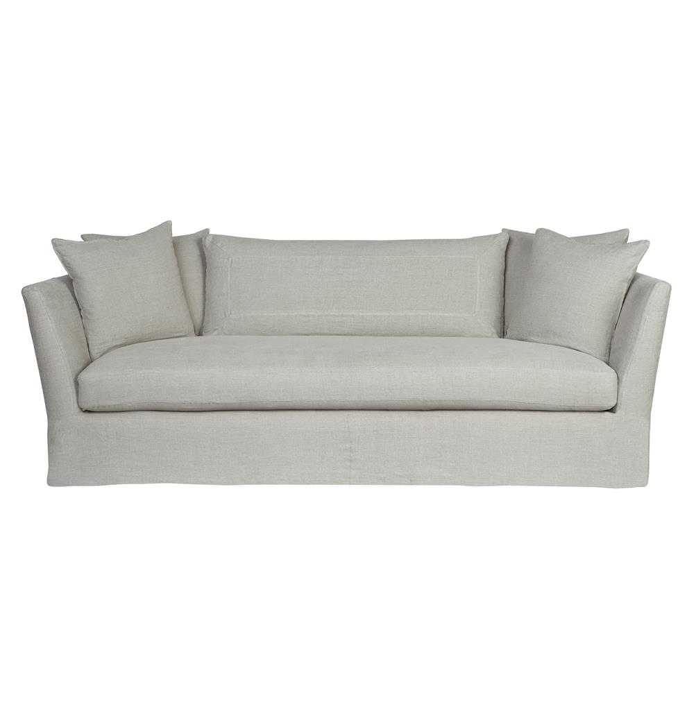 Seda Light Grey Linen Coastal Style Feather Down Slip Cover Sofa - 100