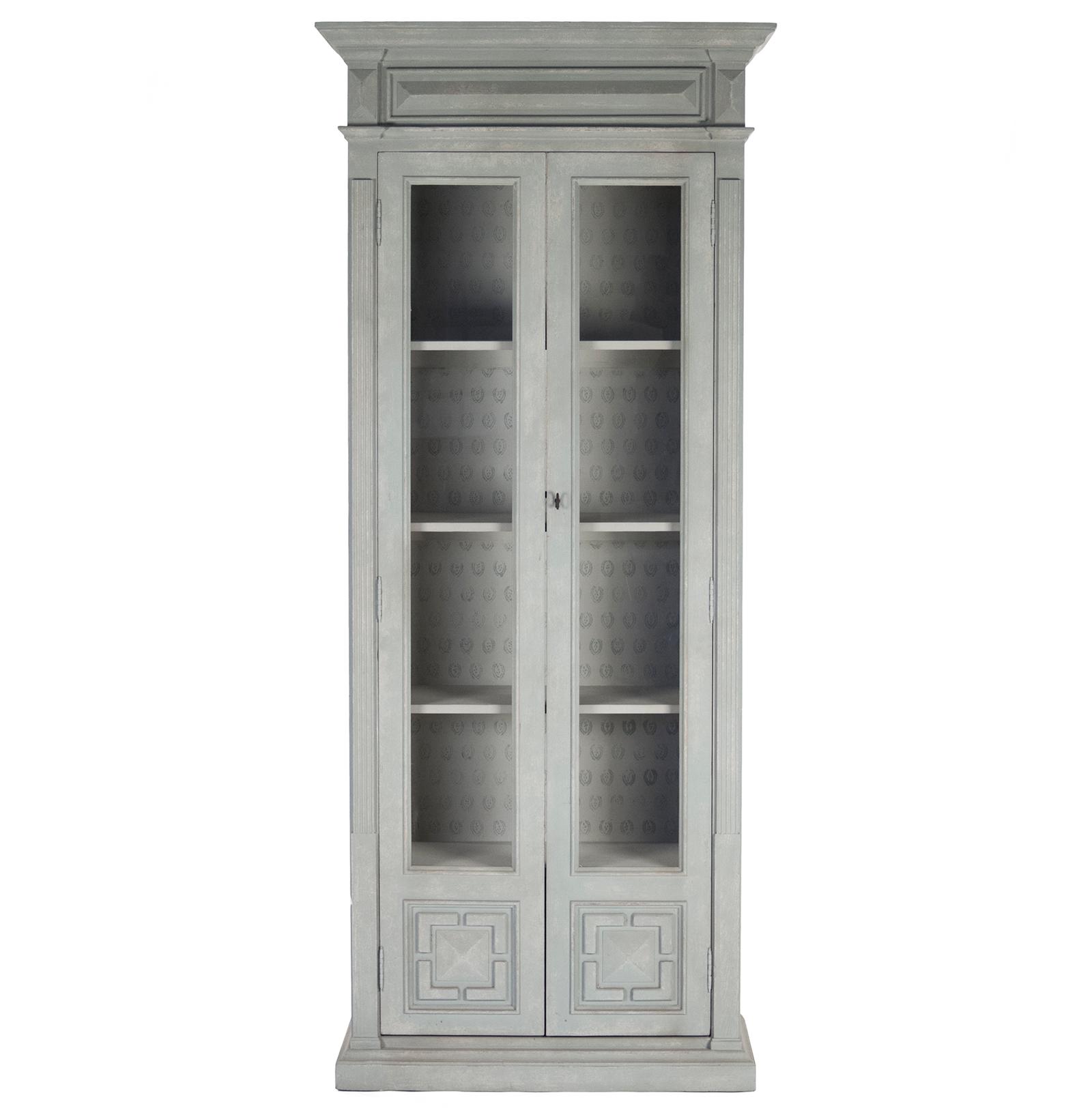 Bernard Masculine Regency Style Antique Grey Distressed Tall Cabinet