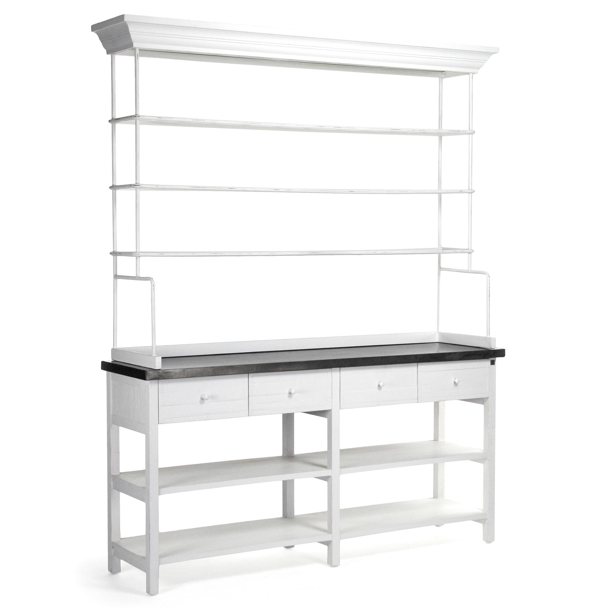 Marion Classic White Industrial Metal Large Display Shelf Bakers Rack