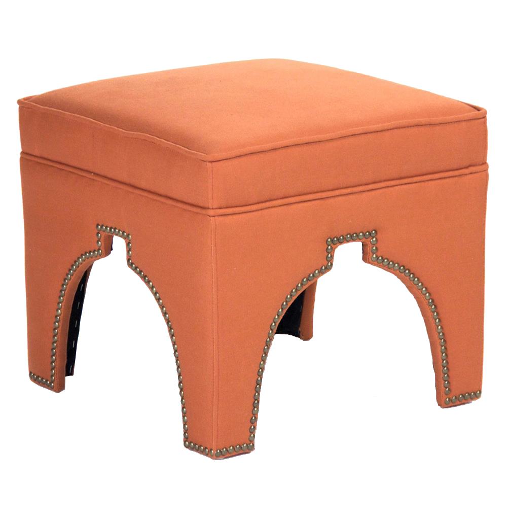 Stella Orange Linen Hollywood Regency Nail Head Ottoman Stool