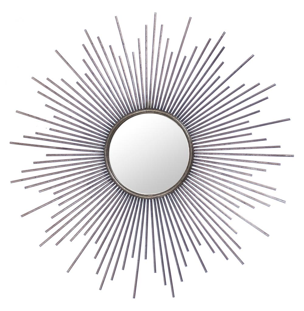 Marlie Hollywood Regency Antique Silver Sunburst Mirror