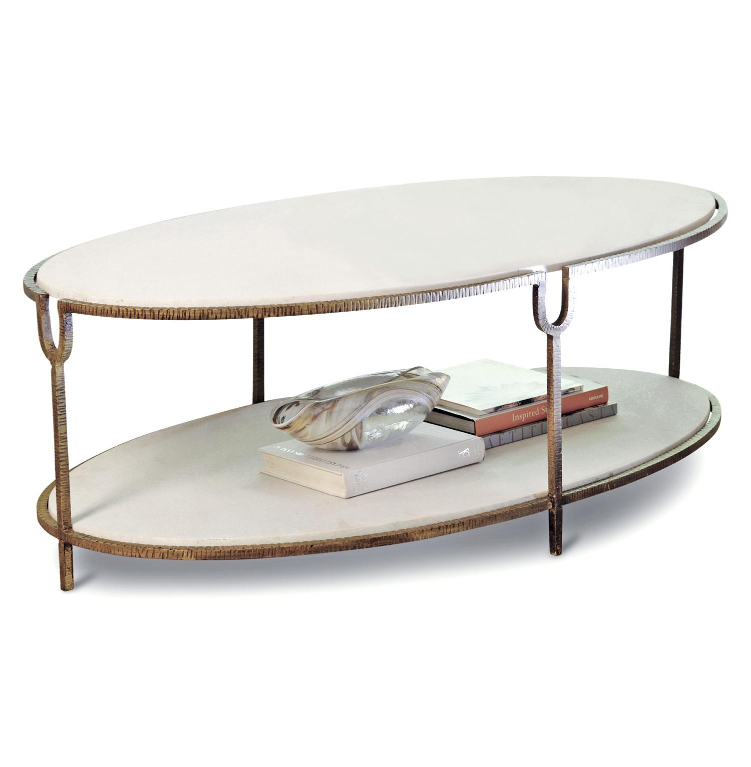 Katherine Hollywood Regency Ivory Stone Oval Coffee Table