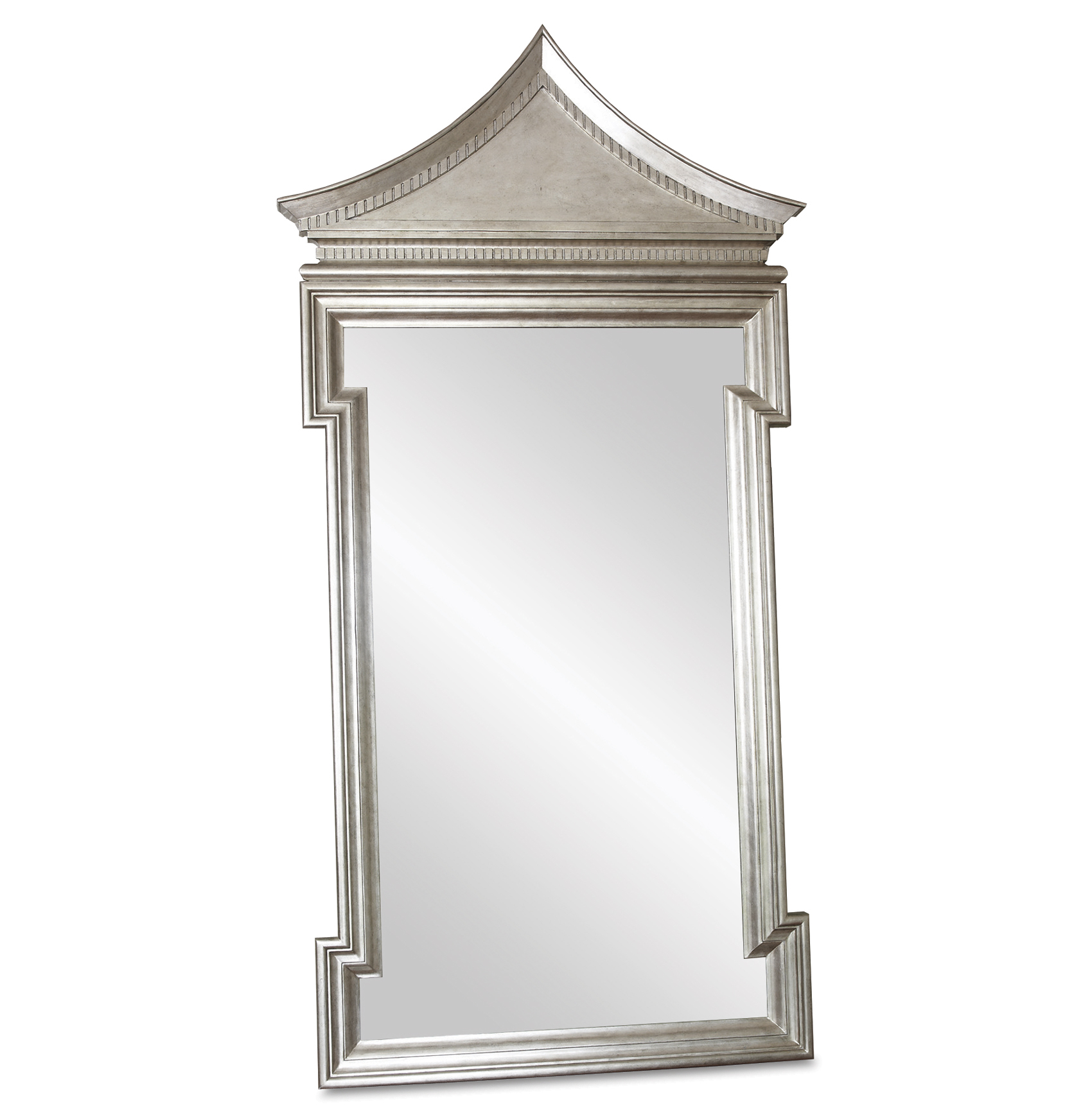 Governors Palace Hollywood Regency Antique Silver Leaf Floor Mirror - 96 Inch