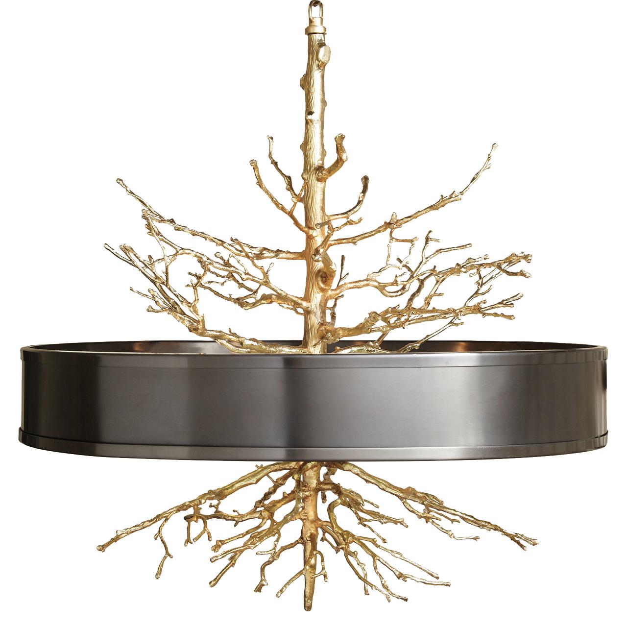 Bijou Tree Branch Hollywood Regency Brass Bronze Ceiling Pendant Lamp