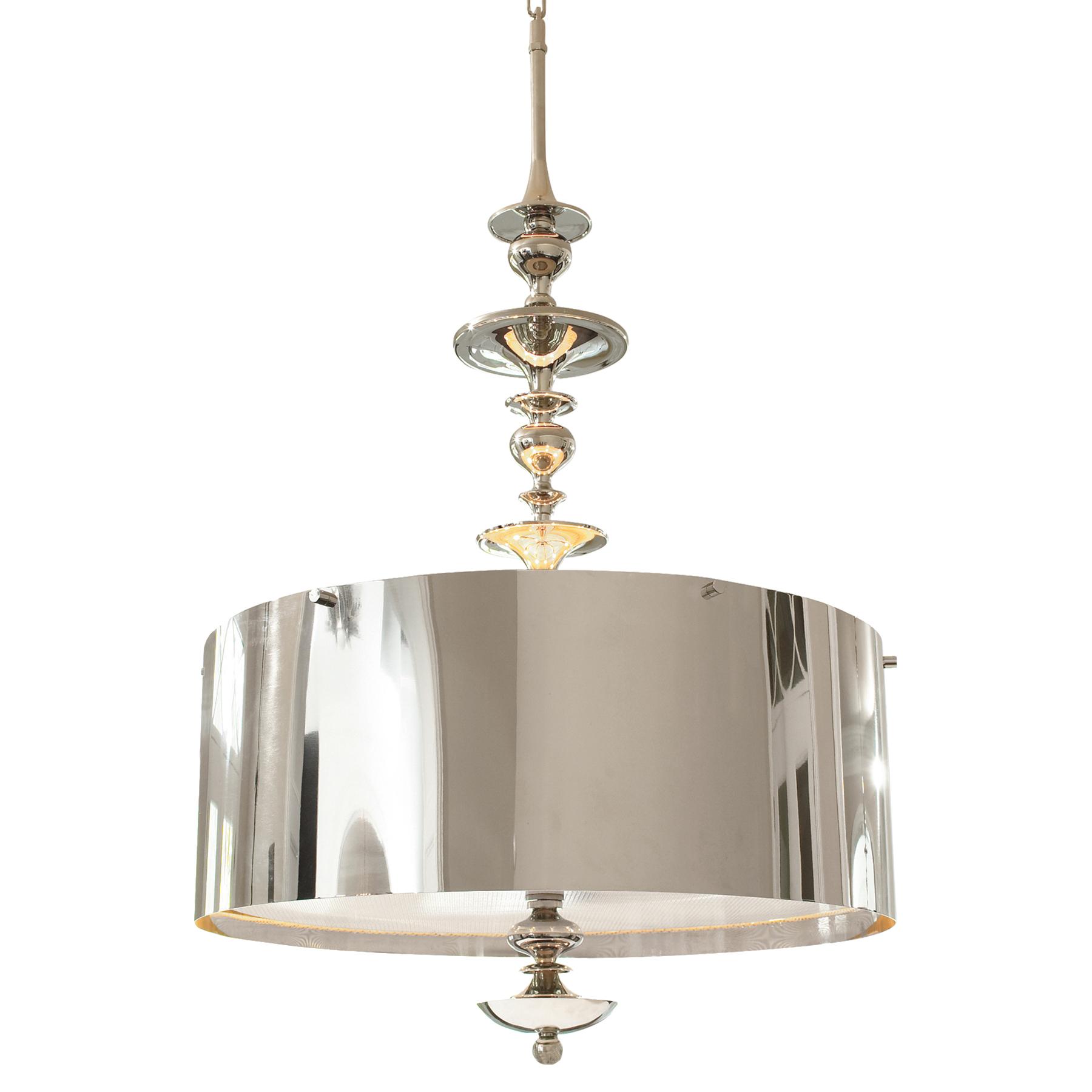 Karel Polished Nickel Hollywood Regency Pendant Lamp - 39.25 Inch