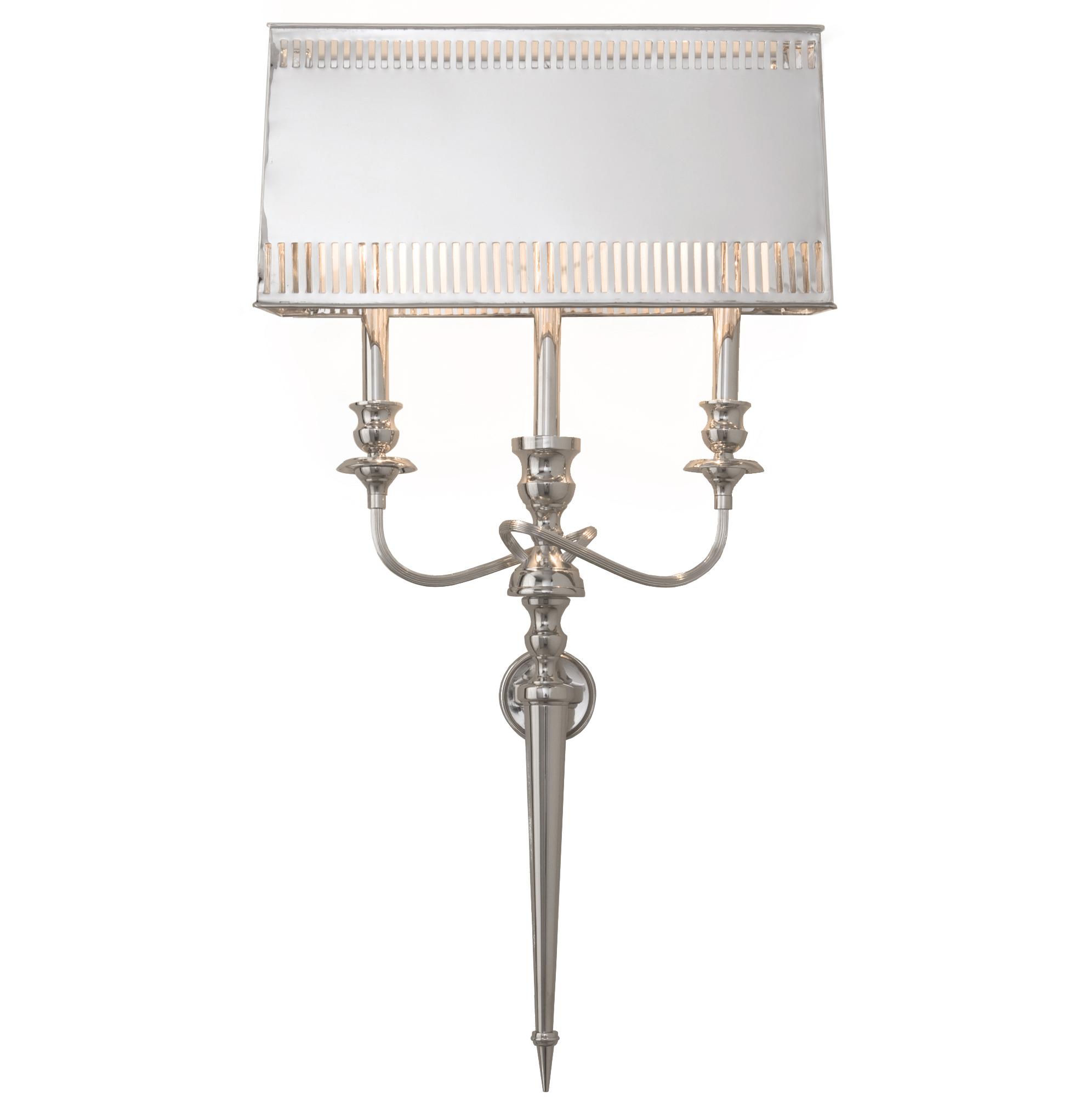 Monroe Hollywood Regency French Deco Polished Nickel Deco Style Sconce