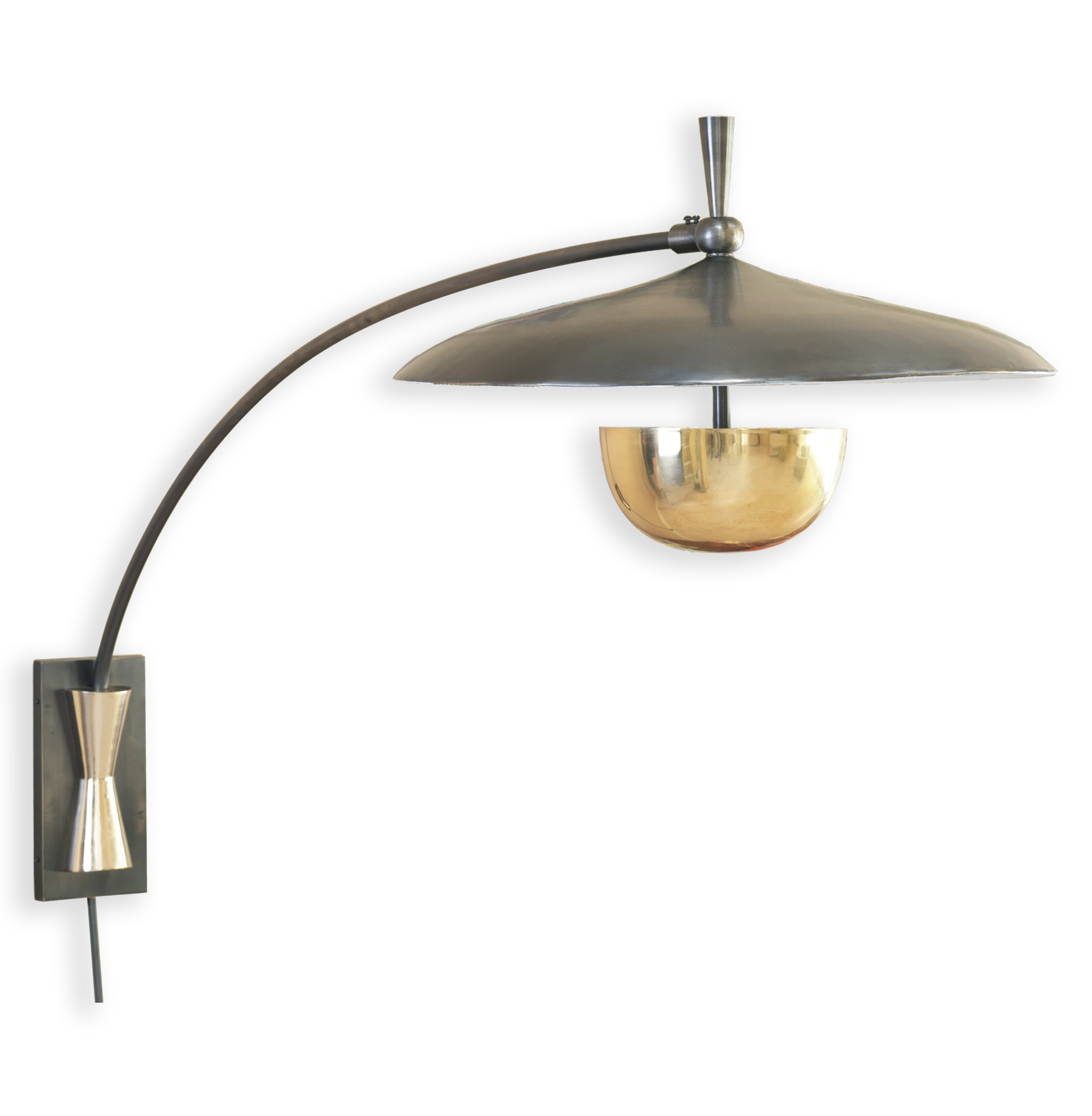 Wright Modern Deco Large Bronze Brass Arc Wall Sconce