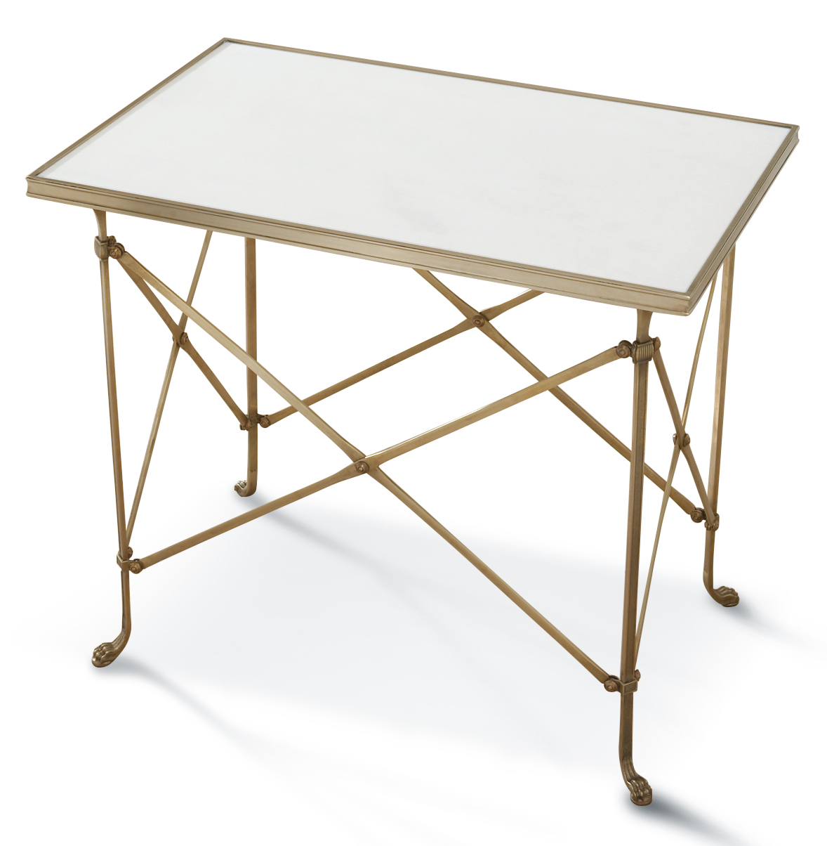 Directors Cut Hollywood Regency Gold White Marble Rectangular End Table