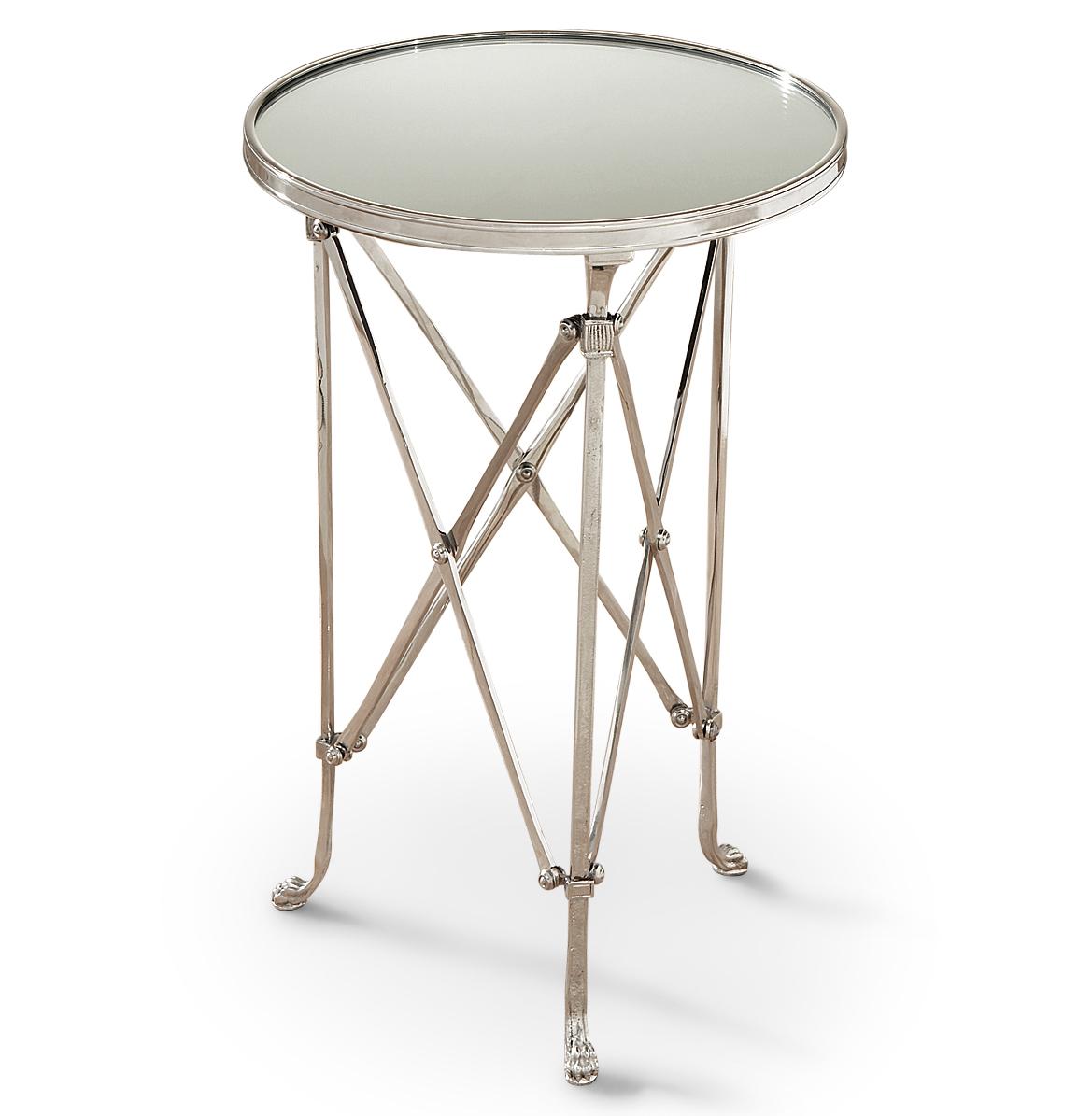 Directors Cut Hollywood Regency Silver Mirror Round End Table