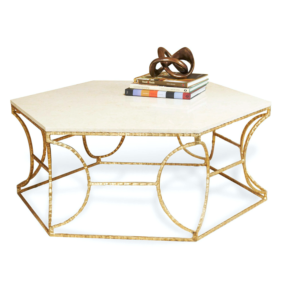 Roja Hollywood Antique Gold Leaf Cream Marble Hexagonal Coffee Table