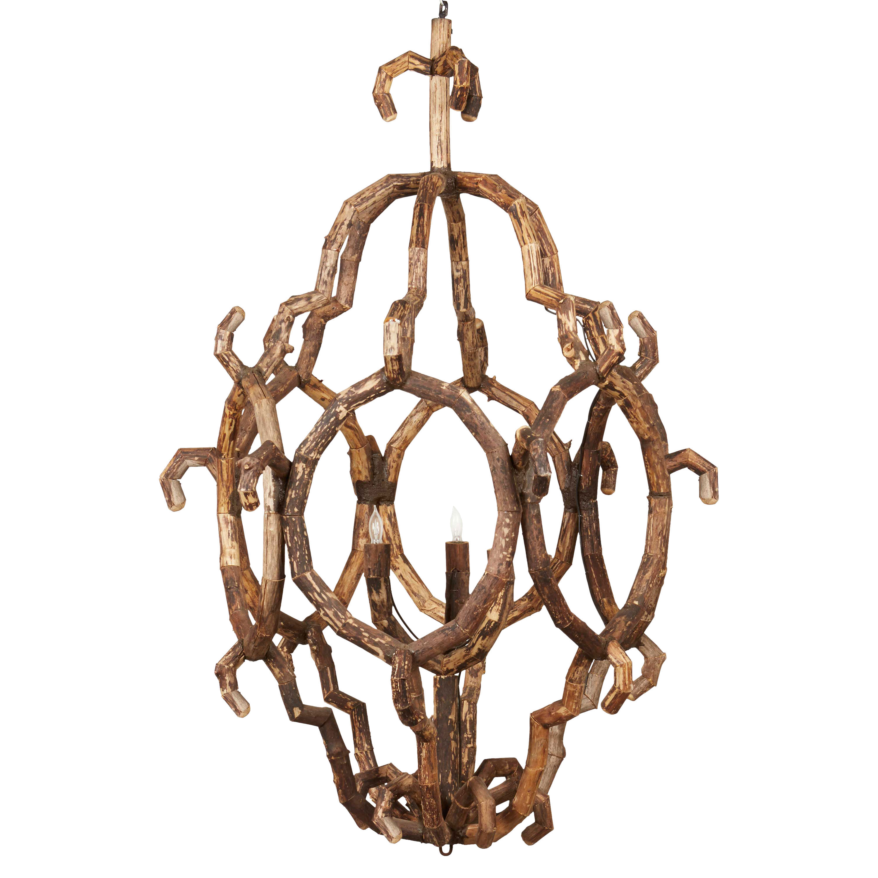 Selous Rustic Lodge Abstract Driftwood 3 Light Chandelier