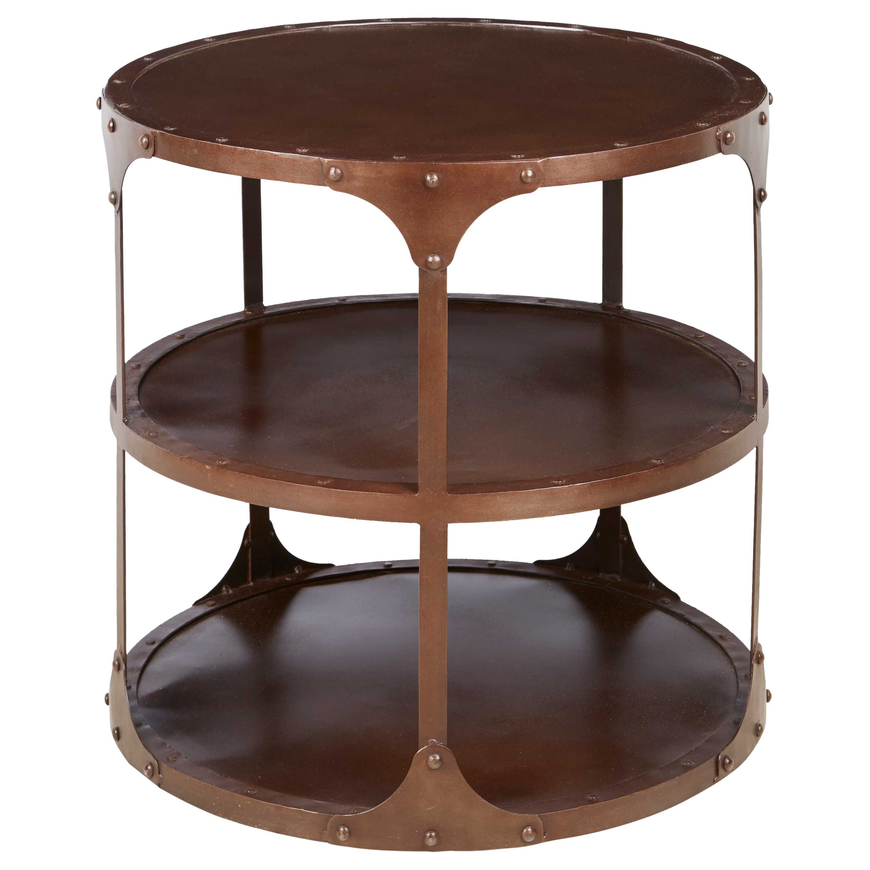Alfons Industrial Loft Round 3 Tier Metal Side Table