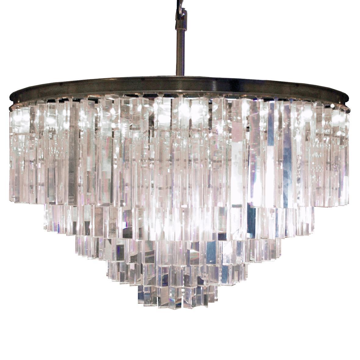 Desmond Hollywood Regency Optical Glass Crystal 5 Tier Chandelier
