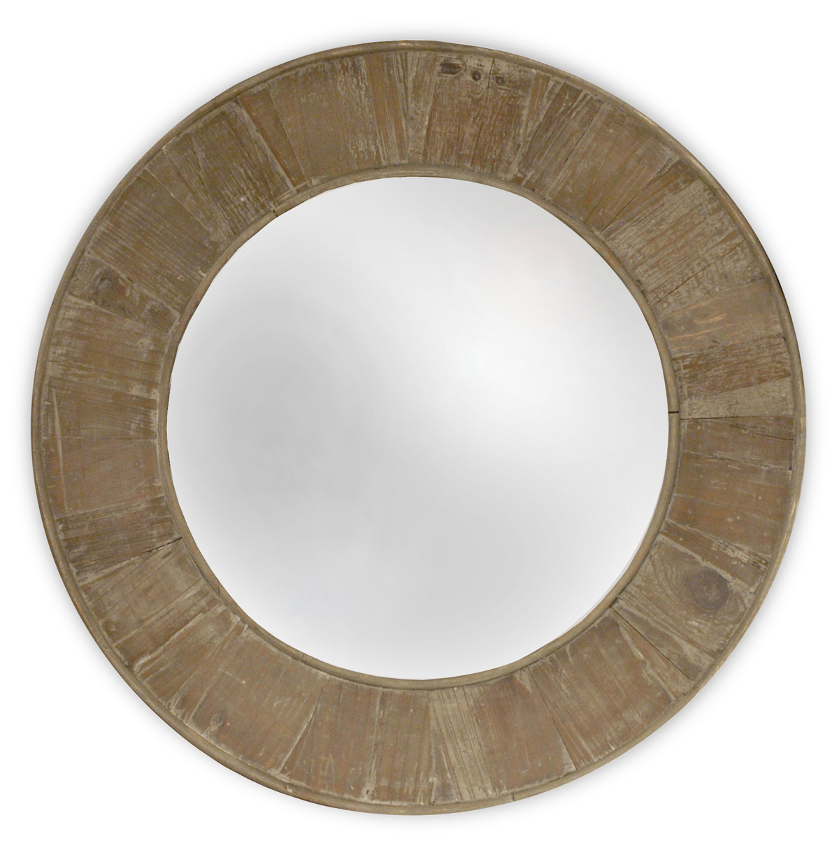 Boardwalk Rustic Lodge Old Lime Finish Reclaimed Pine Round Mirror