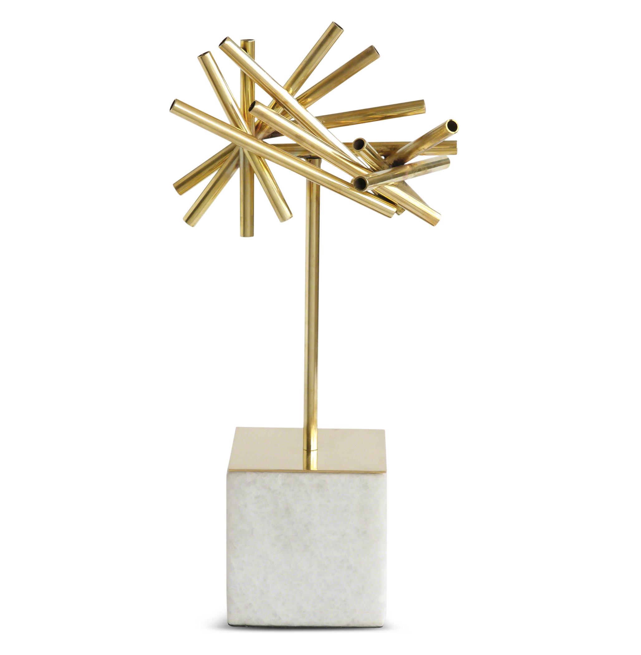 Randi Golden Rod Modern Burst Sculpture on Stone Base
