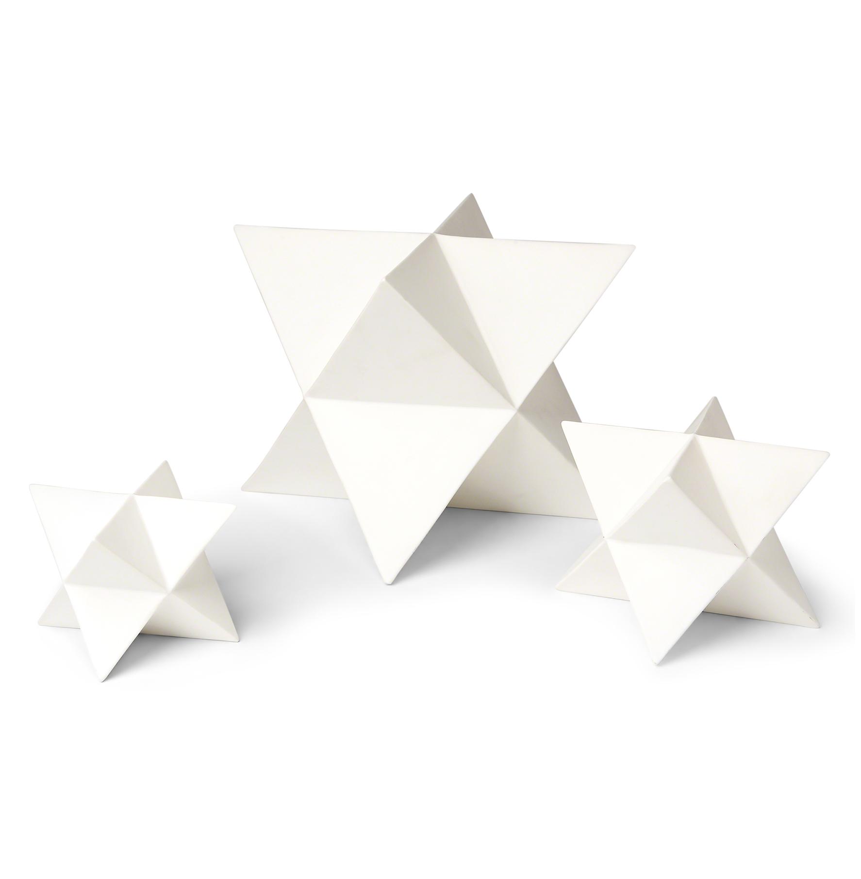 Orion White Ceramic Polyhedron Stars - Set of 3