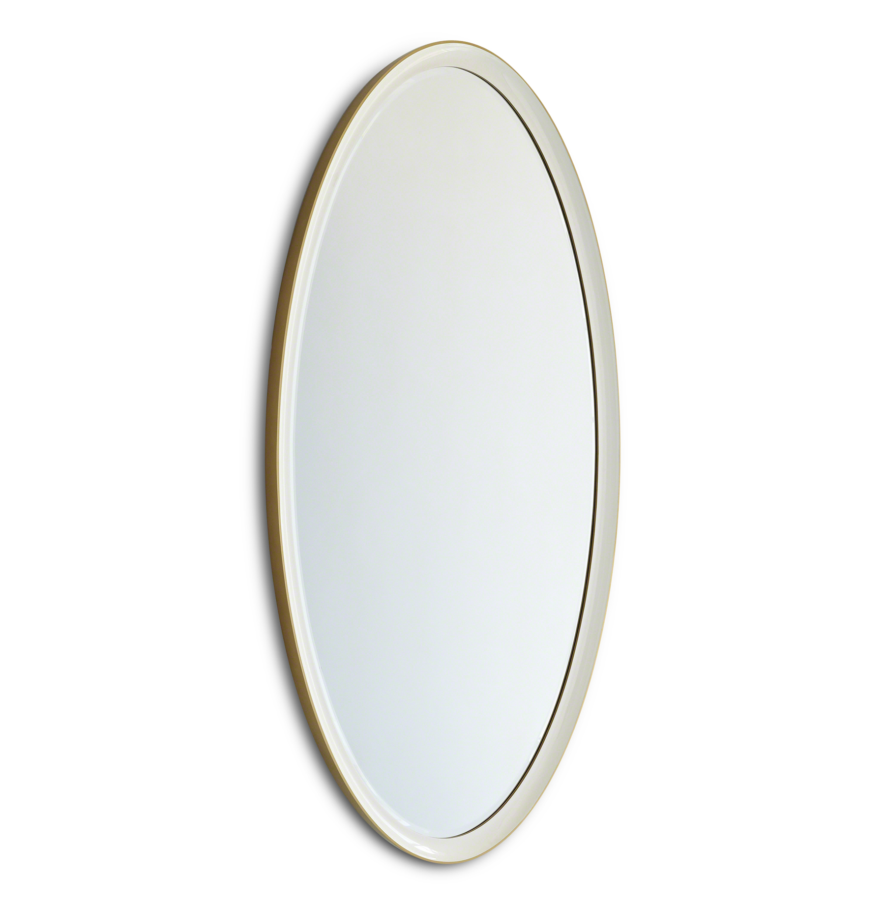 Hayworth Hollywood Regency White Gold Ombre Oval Wall Mirror - 63 Inch