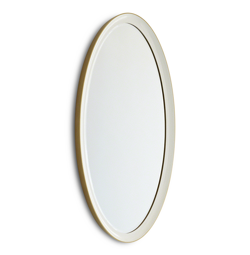 Hayworth Hollywood Regency White Gold Ombre Oval Wall Mirror - 44 Inch