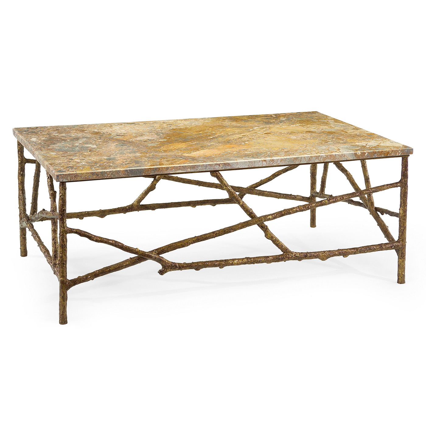 Sun Valley Rustic Lodge Antique Gold Marble Branch Coffee Table