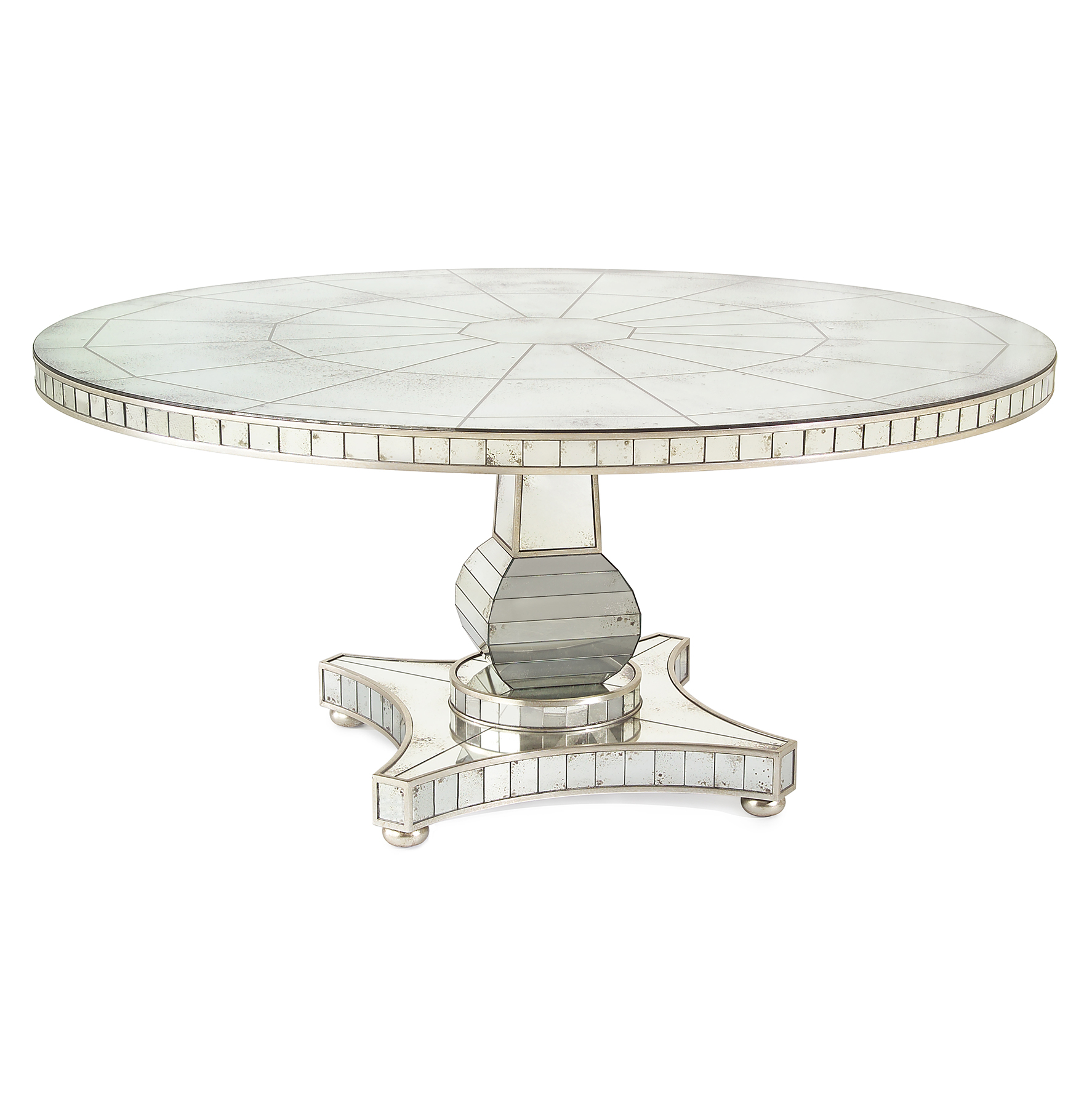 Millie Hollywood Regency Antique Mirror Silver Round Dining Table