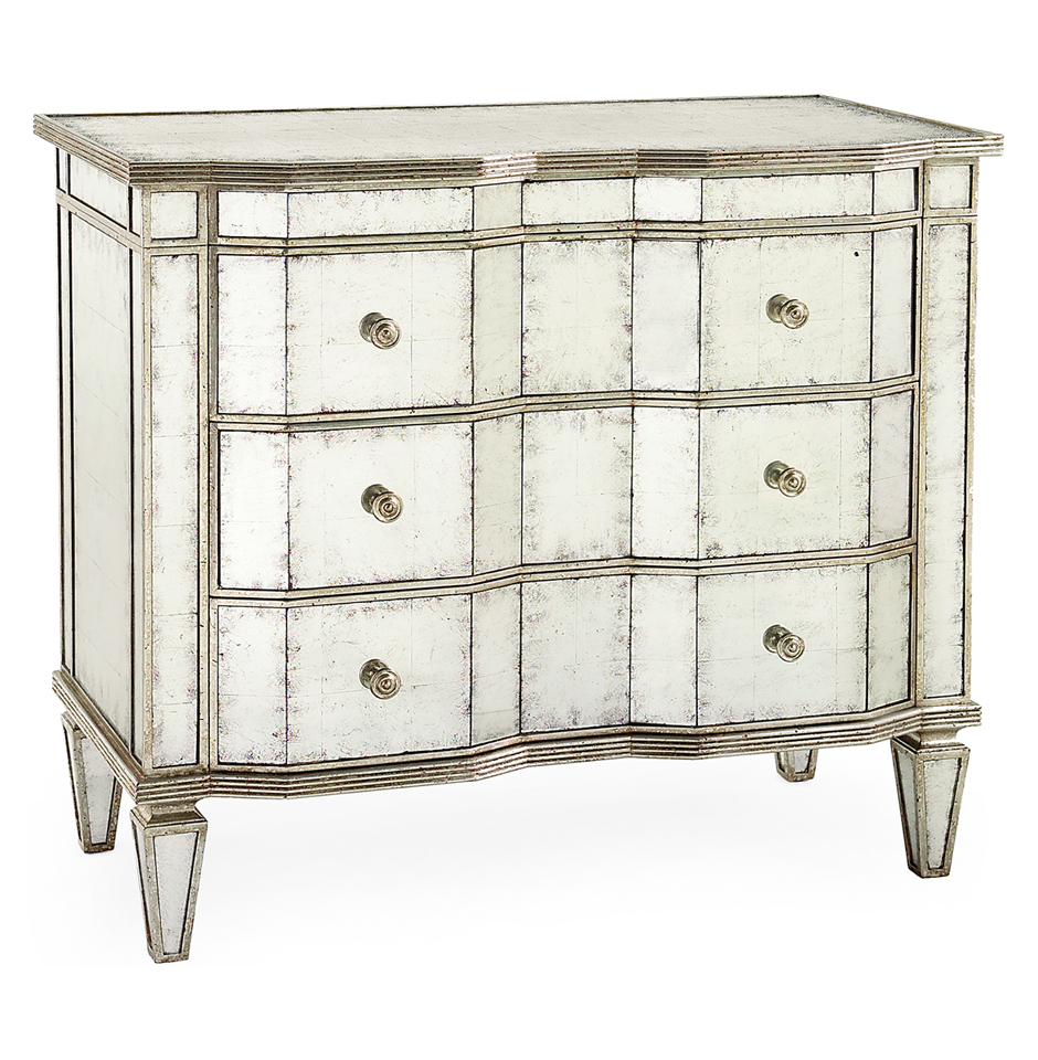 Aubrey Hollywood Regency Silver Leaf Mirror Chest Dresser - Silver Trim