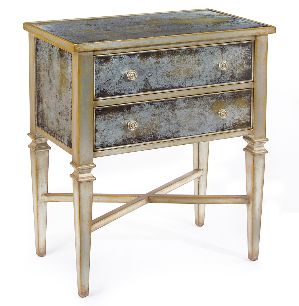 Arezzo Hollywood Regency Antique Champagne Silver Painted Glass Nightstand