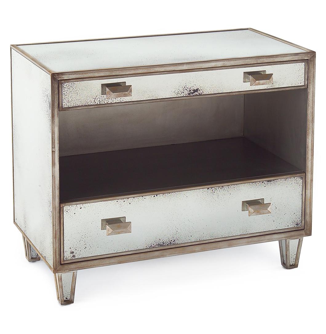 Selena Hollywood Regency Antique Mirror Silver 2 Drawer Open Nightstand