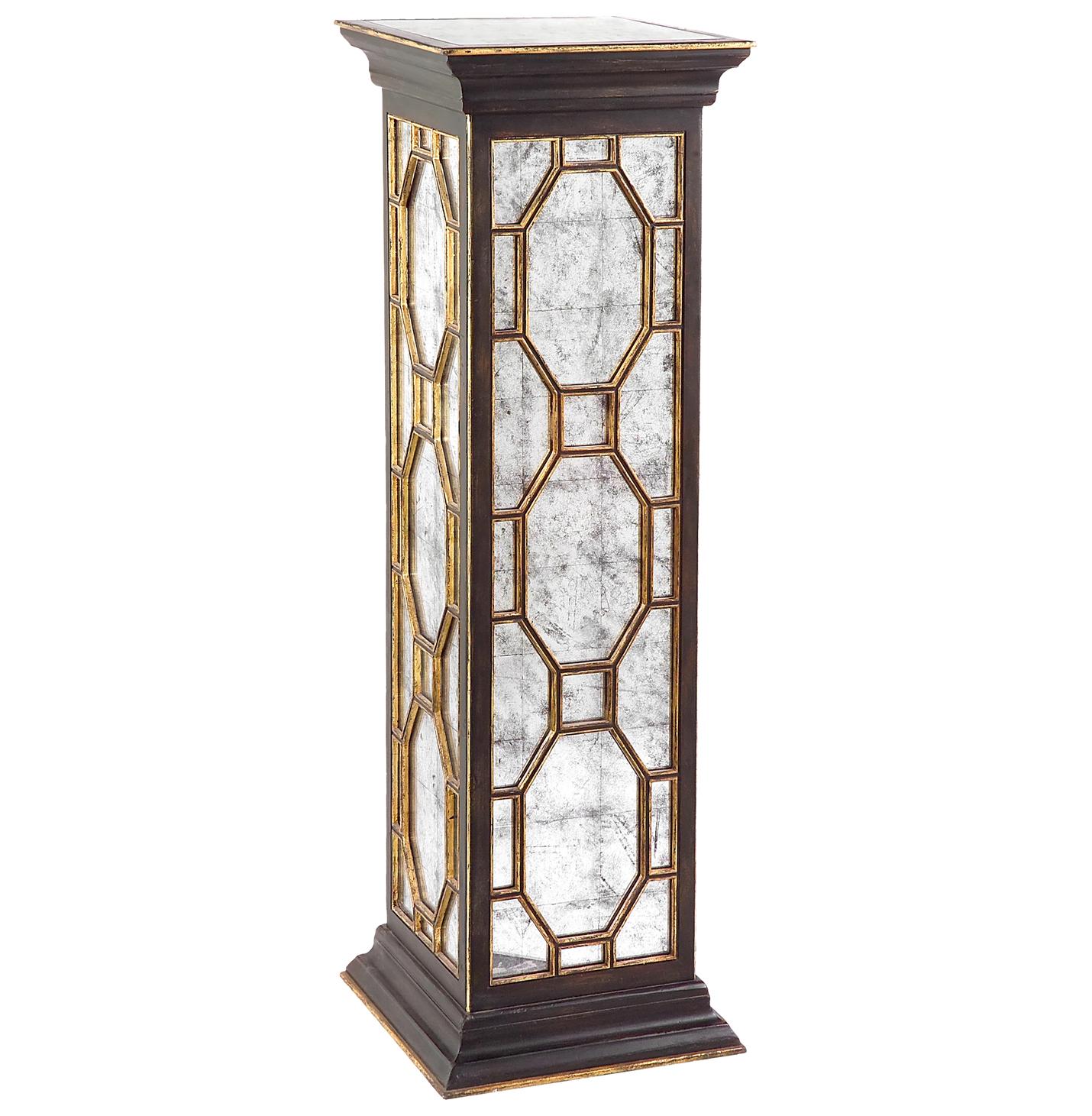 Cadence Traditional Hollywood Black Silver Leaf Mirror Pedestal Table - 48 Inch
